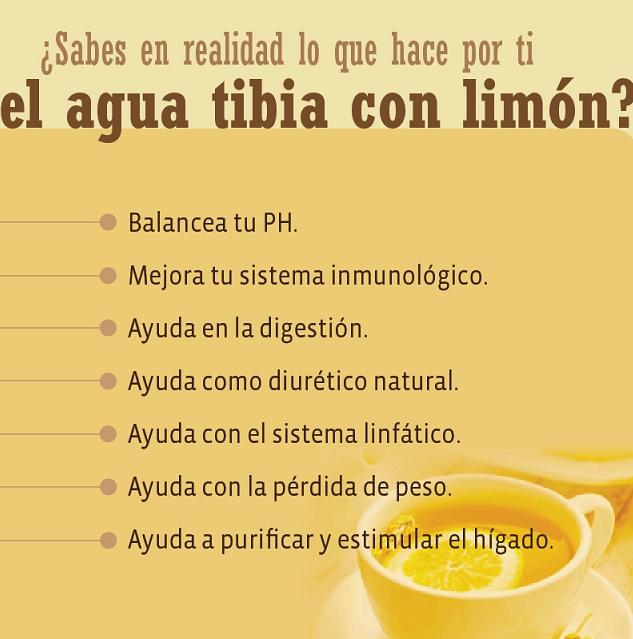 agua de limon tibia por las mañanas