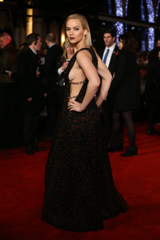 "Actress Jennifer Lawrence attending the UK premiere of The UK Premiere of "" The Hunger Games: Mockingly Part 2 "" in London."