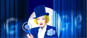 Marlene Dietrich en el centro del escenario con un 'doodle'de Google